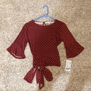 Red tie bow shirt